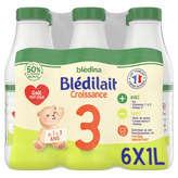 Blédina BLEDILAIT Lait de croissance - 3ème âge - Dès 12 mois à 36 mois - 6x1l