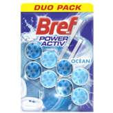 Bref BREF Power activ' - Nettoyant WC - Océan - 2x50g