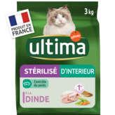 Ultima ULTIMA Nourriture pour chats stérilisé d'intérieur - Goût di... - 3kg
