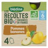 Blédina BLEDINA Les récoltes bio - Dès 6 mois - Pommes bananes - ... - 4x90g