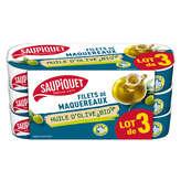 Saupiquet SAUPIQUET Filets de maquereaux - Huile d'olive - Biologique - 3x120g