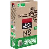 San Marco SAN MARCO Bio - 10 Capsules Biodégradable - Intense et Rond - Intensité 8 - Café - Biologique - 50g