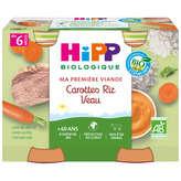HiPP HIPP Carottes riz veau - Petits pots - Dès 6 mois - Biologique - 2x190g