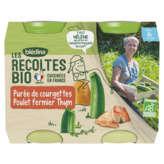 Blédina BLEDINA Les Récoltes Bio - Pots Purée de courgettes Poulet Thym - Dès 6 mois - Biologique - 2x200g
