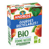 Andros ANDROS Compotes en gourde - Gout pomme nature  - Biologique - 4x85g
