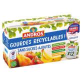 Andros ANDROS Assortiment compotes en gourde  - Gout pomme poire, pomme fraise, pomme nature et pomme banane - Sans sucres ajoutés - 12x90g