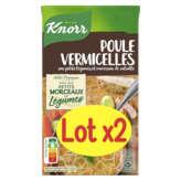 Knorr KNORR Saveurs d'antan - Poule vermicelles - Aux petits légumes et morceaux de volaille - 2x1l