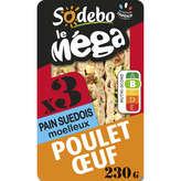 Sodeb'O SODEBO Le méga - Sandwich - Pain moelleux - Poulet rôti - Œuf - x3 - x3